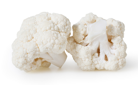Cauliflowers isolated on white background with clipping path