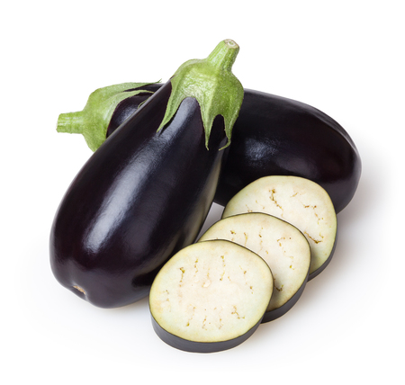 Fresh eggplants isolated on white background with clipping path Stock fotó