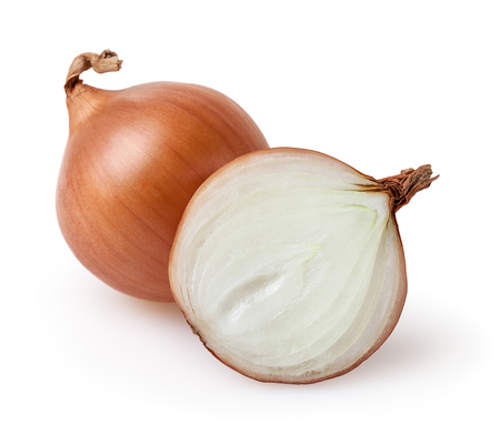 Onion bulbs isolated on white background with clipping path Stockfoto