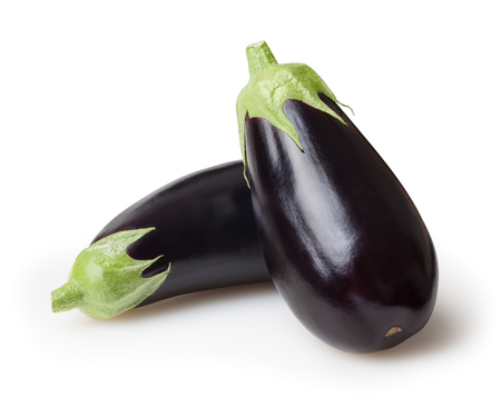 Fresh eggplants isolated on white background Stock Photo