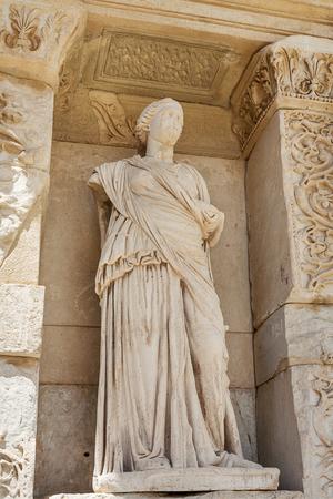 Facade of Celsus library in antique Ephesus. Selcuk in Izmir Province, Turkey.
