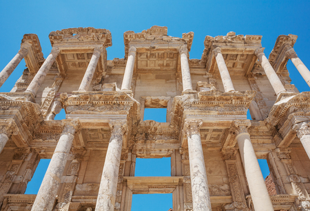 Facade of Celsus library in antique Ephesus. Selcuk in Izmir Province, Turkey