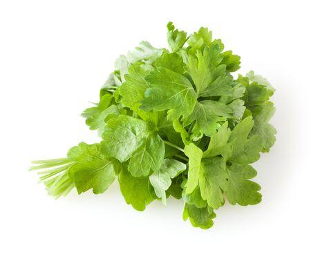 Fresh parsley leaves isolated on white background