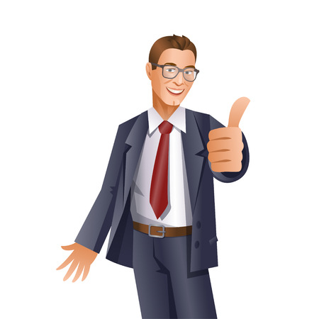 job satisfaction: Handsome businessman showing thumbs up gesture on white background
