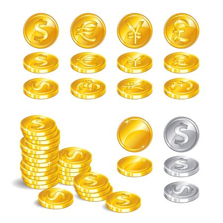Gold coins, signs world currencies, a symbol of wealth on white background