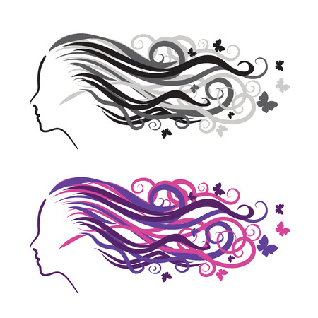 hair beauty: Silhouette of a girl in profile.