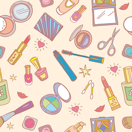 Seamless pattern with cosmetics, beauty accessories, hearts and smiles.