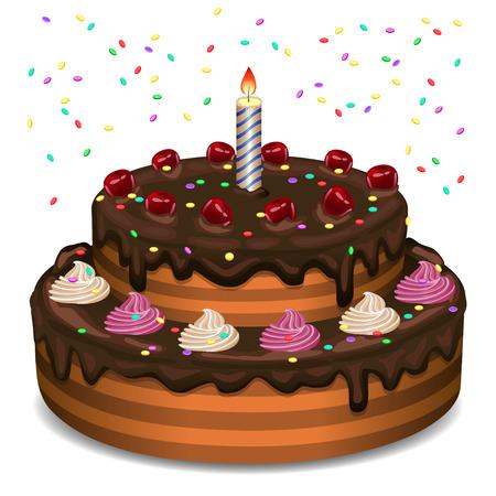 白い背景の上の誕生日ケーキ。  イラスト・ベクター素材