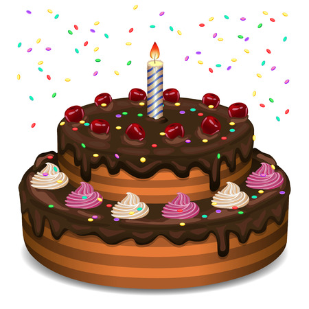birthday candle: Birthday cake on a white background. Illustration