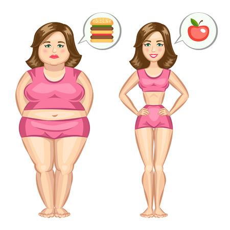 gordos: La grasa y delgada chica.