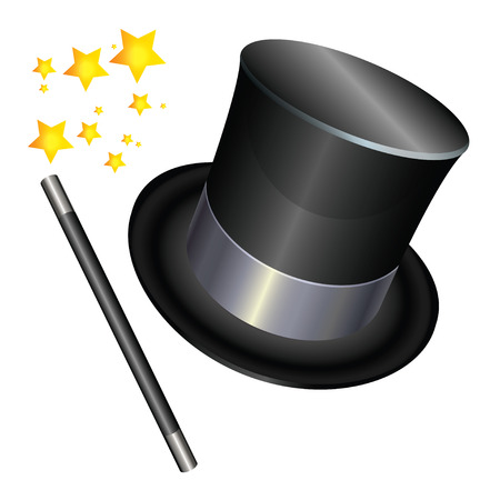 magician hat: Wizards hat and a magic wand on stars background.  Illustration