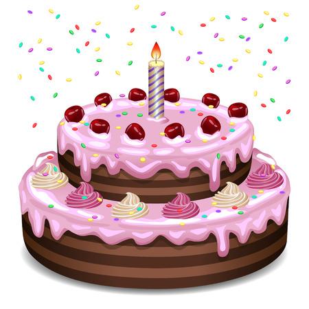 Verjaardagscake op een witte achtergrond. Stock Illustratie