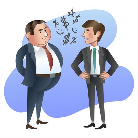 patron: Feliz jefe o gerente y el empleado.