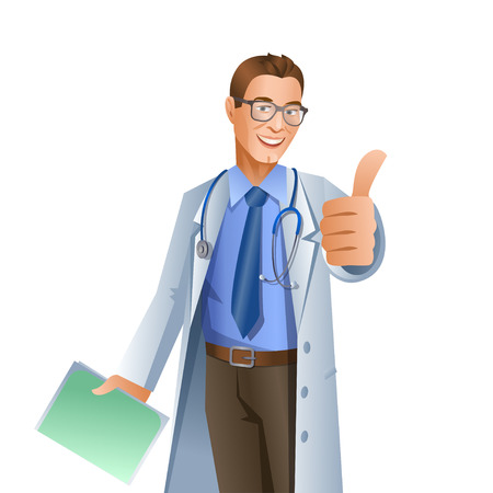 Doctor showing okay gesture isolated on white background