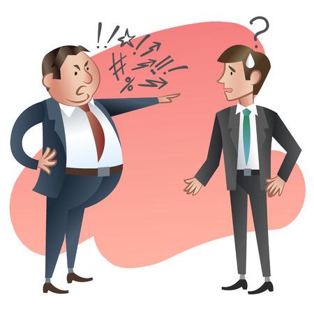personne en colere: Angry boss avec un employé.