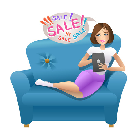 business woman laptop: Woman sitting with tablet on the sofa.