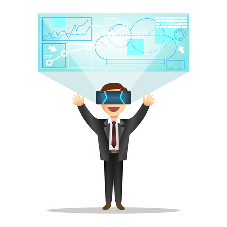 Man in device for virtual reality.  Illustration