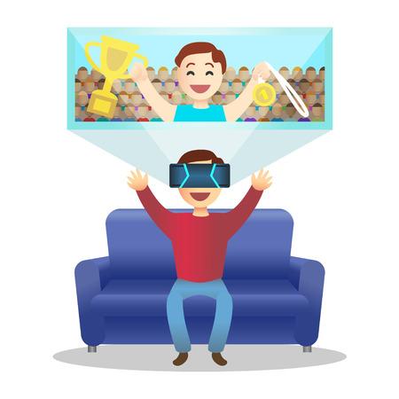 시뮬레이션: Man in device for virtual reality.  일러스트