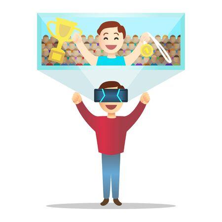 virtual reality simulator: Man in futuristic high tech glasses for virtual reality.