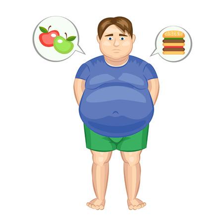 De dikke man met een hamburger en appels. vector illustratie Stock Illustratie