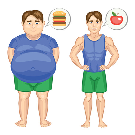 weight loss man: Fat and slim man. Vector illustration