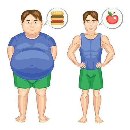beau jeune homme: Fat et homme mince. Vector illustration