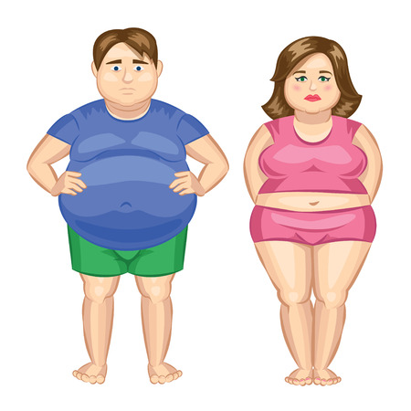 obese person: Fat woman and fat man. Vector illustration