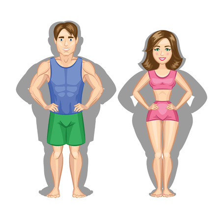 Cartoon healthy lifestyle illustration. Woman and man Çizim