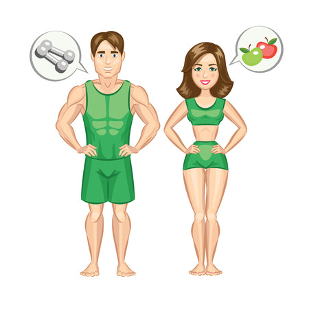 Cartoon healthy and sporty woman and man. Vector illustration