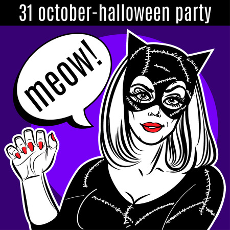 fetish: Halloween Party design template. Woman in catsuit, at lady, superhero Illustration