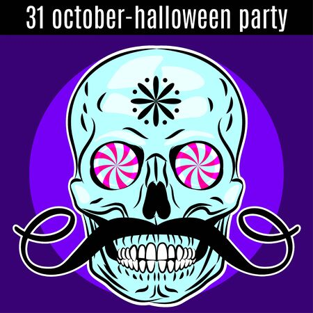 Halloween Party design template for poster, flyer. Funny skull. Vector