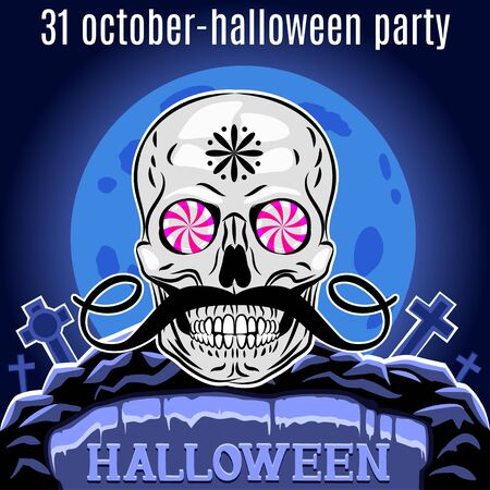 christian halloween: Halloween Party design template for poster.  Illustration