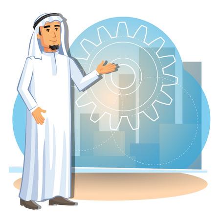 Cartoon illustration of arabian businessman on the background of the city