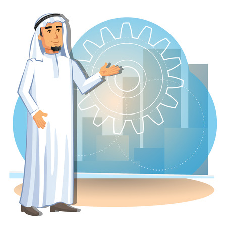 Cartoon illustration of arabian businessman on the background of the city