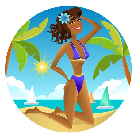 african american woman: Girl on the beach. Vector illustration Illustration