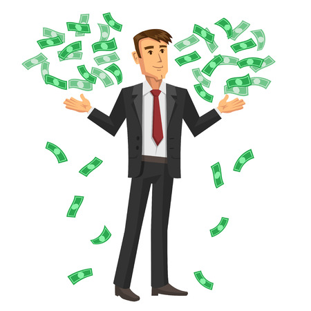 Cartoon illustration of businessman with the falling notes