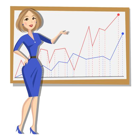 one woman: Business woman with chart background. Cartoon Illustration
