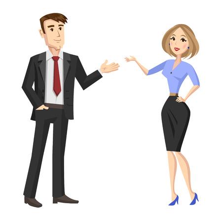 Cartoon illustratie van jonge mensen uit het bedrijfsleven. Vector