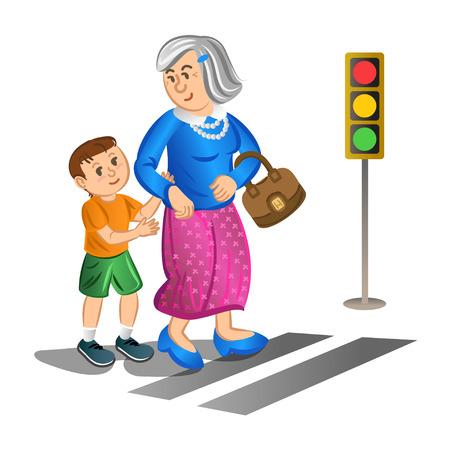 Ayuda del muchacho anciana a cruzar la calle. Ilustración vectorial