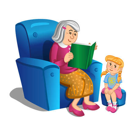 grandchild: Grandmother reads a book to the girl. Vector illustration Illustration