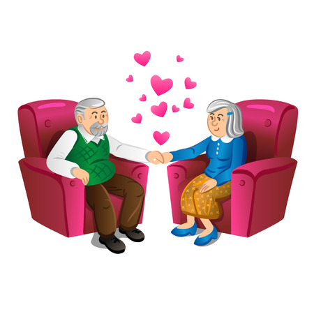 retired: Lovely old couple holding hands. Vector illustration