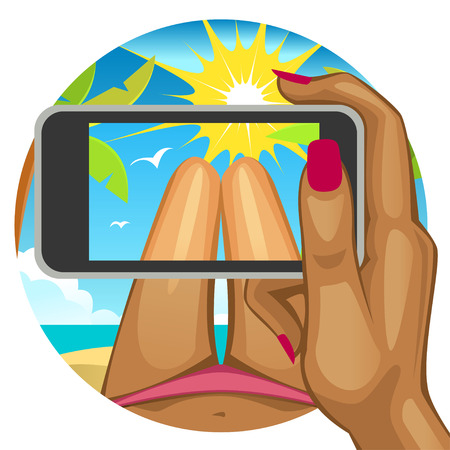 smart phone woman: Woman takes a selfie on the beach.Womans hand with the smart phone