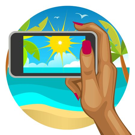 travel phone: Womans hand with the smart phone in the background of the beach Illustration