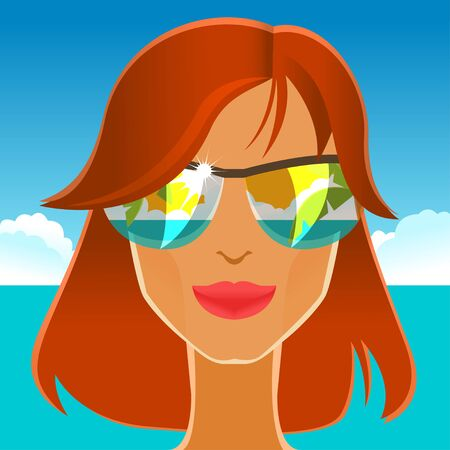 redhead girl: Beautiful redhead girl in sunglasses on the beach. Vector illustration Illustration