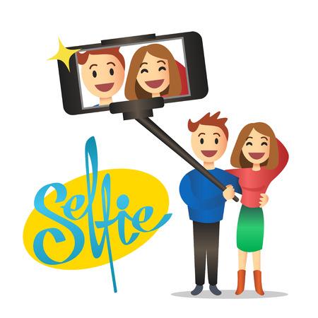 selfie: Young couple making self portrait using selfie stick. Vector Illustration