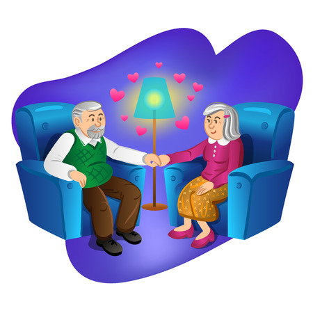 husband and wife: Lovely old couple holding hands. Vector illustration