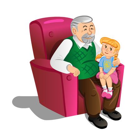 Abuelo con nieta. Ilustración en estilo de dibujos animados, vector Vectores