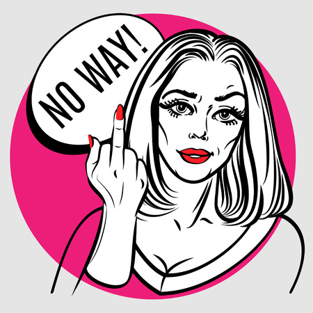 middle finger: Beautiful woman showing middle finger. Pop art poster