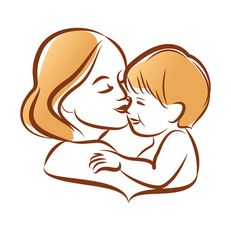 mother breast: Mother with her baby, outline vector silhouette