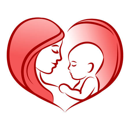 Mother with her baby, heart, outline vector silhouette Illustration
